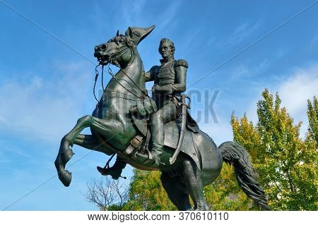 Washington, D.c., Usa - November 13, 2017: The Bronze Equestrian Statue Of Andrew Jackson Is Located