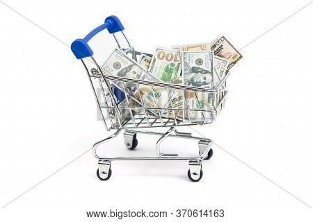 Mini Shopping Cart Mini Money Dollars On A White Background Isolate