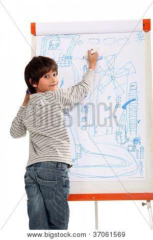 Talented little boy drawing