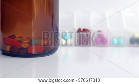Ferrous Fumarate In Pill Box With Tablets, Capsules, Vitamins In Brown Bottle For Treatment Iron Def