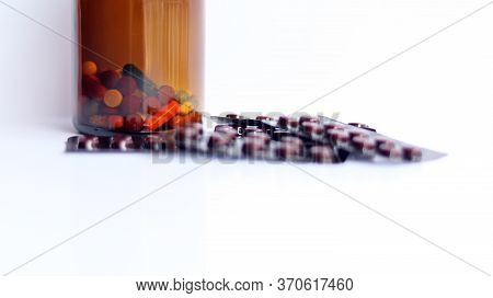 Ferrous Fumarate Pills In Packs With Tablets, Capsules, Vitamins In Brown Bottle For Treatment Iron