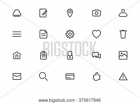 Icon Black And White, Icon Line , Icon Pack, Telephone Icon,  Icon Isolated On White Background,