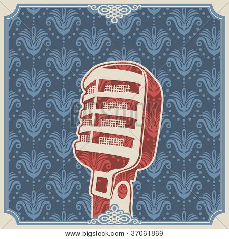 Vintage background with old microphone. Vector illustration.