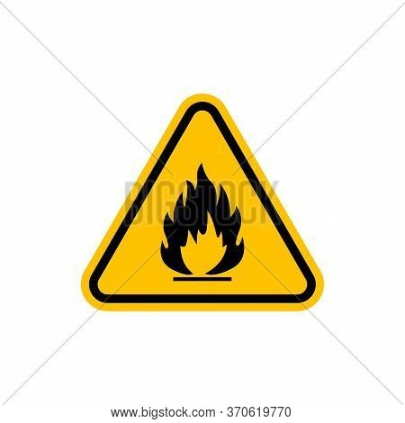 Flammable Icon, Warning Symbol Of The Combustible Fire Danger On The Yellow Triangular Sign.