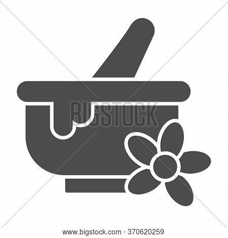 Spa Bowl Solid Icon, Spa Salon Concept, Mortar And Pestle Sign On White Background, Herbal Bowl With