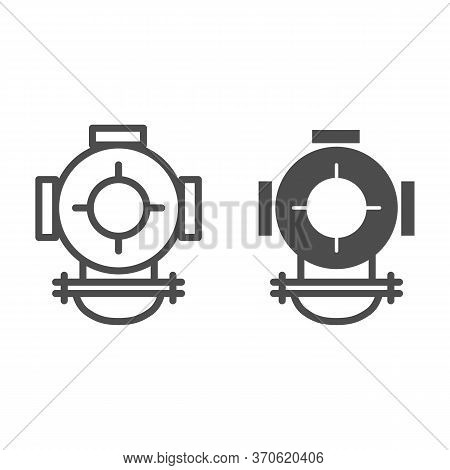 Diving Helmet Line And Solid Icon, Ocean Concept, Underwater Equipment Sign On White Background, Div