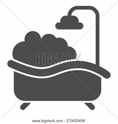 Bath With Foam Solid Icon, Spa Concept, Bathtub Full Of Foam With Bubbles Sign On White Background,