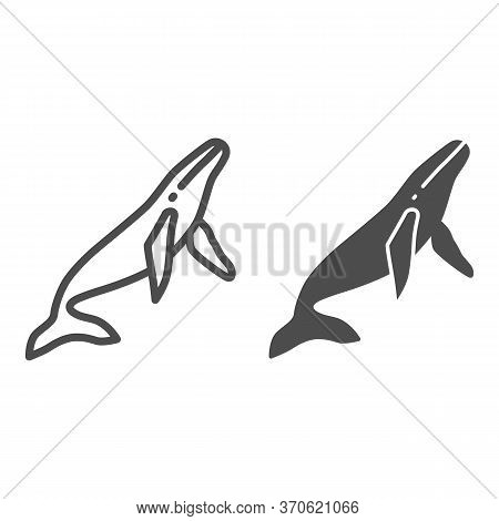 Whale Line And Solid Icon, Ocean Concept, Orca Sign On White Background, Sperm Whale Icon In Outline