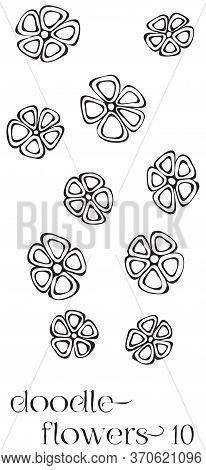 Doodle Flowers 10 Hand Drawn Vector Image Set, Simple Line Drawing Illustration Variations