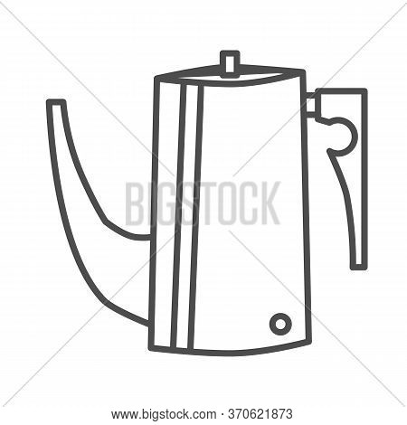 Kettle Thin Line Icon, Kitchen Utensils Concept, Coffee Brewing Kettle With Long Thin Spout Sign On