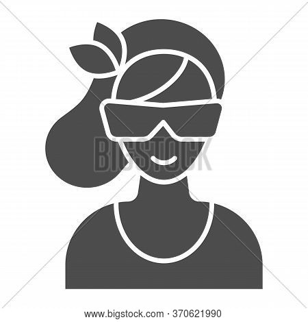 Women Face With Sunglasses Solid Icon, Beauty Salon Concept, Young Woman In Sunglasses Sign On White