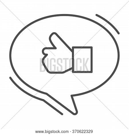 Ok Gesture In Chat Bubble Thin Line Icon, Hand Gestures Concept, Thumbs Up Sign On White Background,