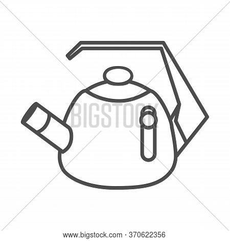 Whistling Kettle Thin Line Icon, Kitchenware Concept, Classic Style Teapot Sign On White Background,