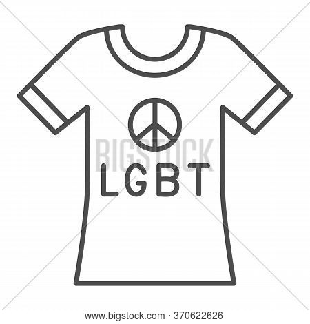 T-shirt With Pacifism Symbol And Text Lgbt Thin Line Icon, Lgbt Concept, Cloth With Lesbian Pride Pr