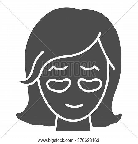 Girl Face With Patches Solid Icon, Beauty Procedure Concept, Applying Cosmetic Patches Under The Eye