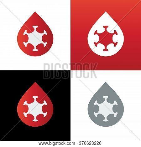 Virus And Blood Logo Icon Design Template, Virus In Bloodstream Illustration - Vector
