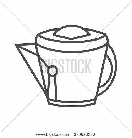 Vintage Kettle Thin Line Icon, Kitchen Utensils Concept, Teakettle Sign On White Background, Kitchen