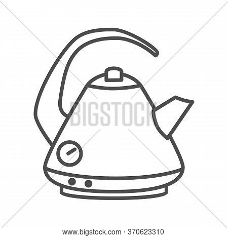 Electric Kettle Thin Line Icon, Kitchen Accessory Concept, Teakettle In Classic Style Sign On White