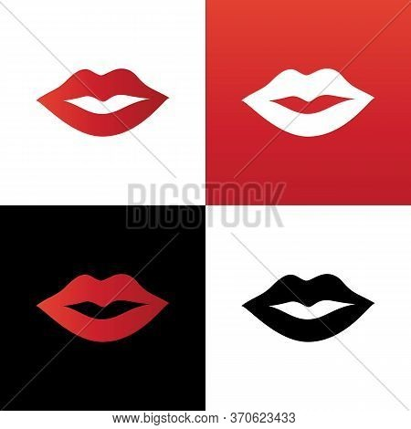 Red Lips Icon Design Template Elements, Lip Silhouette Illustration, Mouth Symbol Vector