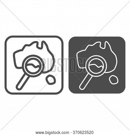 Map And Magnifier Line And Solid Icon, Travel Concept, World Map With Magnifying Glass Sign On White