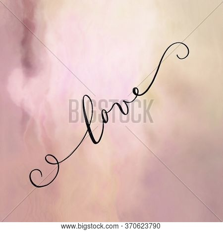 The word LOVE on abstract background