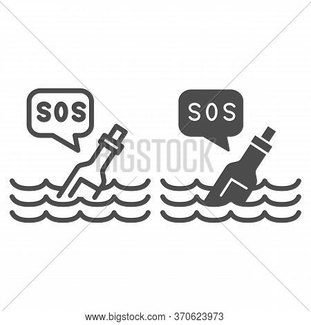 Bottle With Sos Message Line And Solid Icon, Ocean Concept, Bottle On Wave Sign On White Background,
