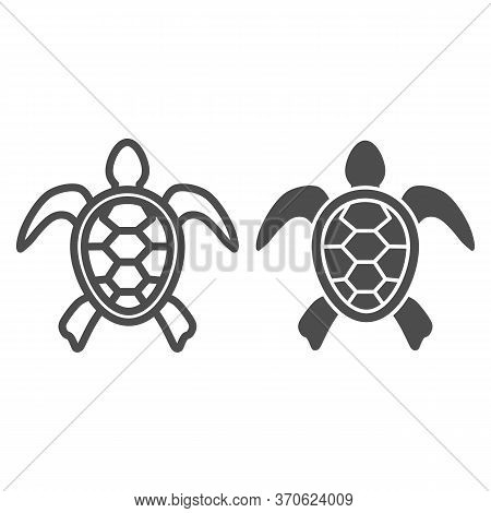 Sea Turtle Line And Solid Icon, Ocean Animals Concept, Tortoise Sign On White Background, Turtle Sil