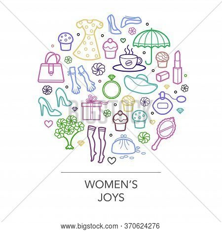 Woman Things Set In Circle Shape. Girl Accessories Icons Collection Of Shoes, Jewelry, Perfume, Cosm