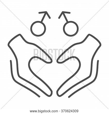 Gay Signs With Hands In Heart Shape Thin Line Icon, Lgbt Couple Concept, Homosexual Love Sign On Whi