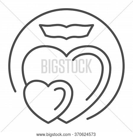Two Love Hearts Thin Line Icon, Romance Concept, Two Hearts Soar With Love Sign On White Background,