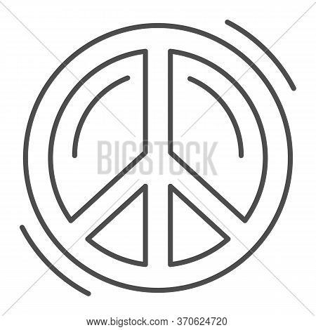 Pacifist Symbol Thin Line Icon, Human Rights And Tolerance Concept, Peace And No War Sign On White B