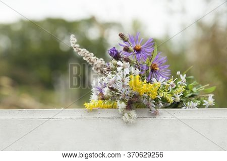 Small Cute Cozy Beautiful Bouquet Of Wildflowers.