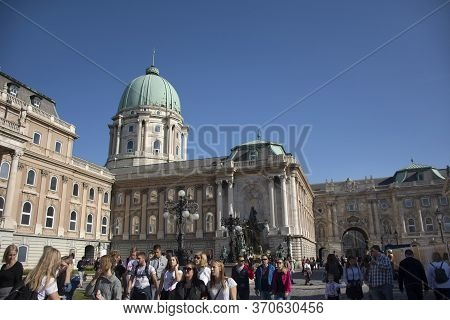 Hungarians People And Foreign Traveler Walking Travel Visit At Budapest Castle Hill Funicular Or Bud