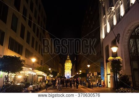 Budapest, Hungary - September 23 : View Landscape And Cityscape With Street Night Market Near St. St