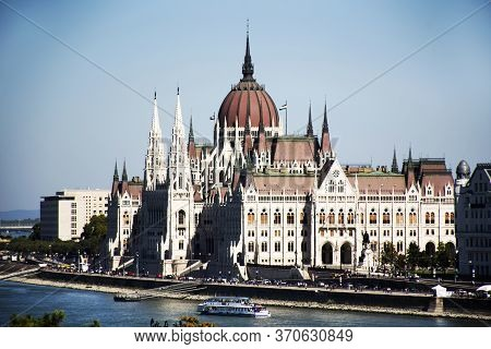 View Landscape And Cityscape Of Budapest Old Town City And Hungarian Parliament With Tour Cruises In