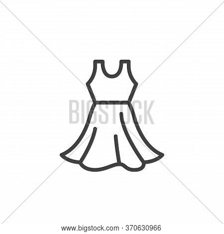 Sleeveless Dress Line Icon. Linear Style Sign For Mobile Concept And Web Design. Sundress Outline Ve
