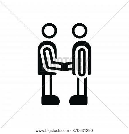 Black Solid Icon For Partner Fellow Companion Friend Buddy Dost Handshake