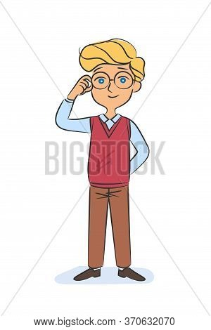 Happy Smiling Schoolboy In Uniform And Eyeglasses Standing Isolated On White. Cheerful Caucasian Boy