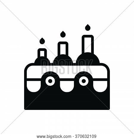 Black Solid Icon For Age Epoch Period Tense Cake Pastry Candle
