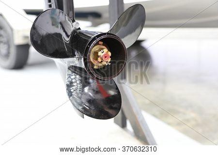 Black  Three Blade Of Marine Engine For Speed Boat ; Engineering Industrial Background