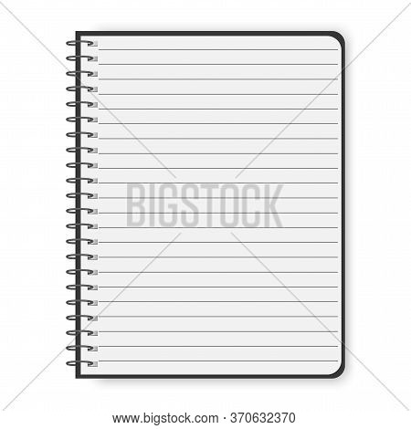 Vector Image Of A Notebook Or Notepad For Notes. Blank White Page In A Line. White Diary For Notes.