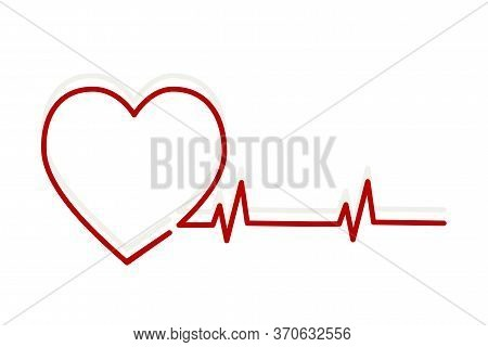 Vector Image Of A Heartbeat Line. Heart In A Heartbeat, Pulse Of Life On A Cardiogram.