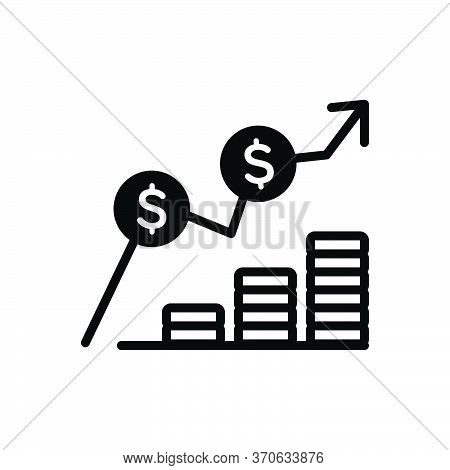 Black Solid Icon For Cost Expense Expenditure Charge Earning Increase