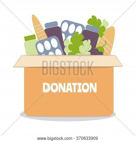 Donation Food Box Flat Vector Illustration, Charity And  Fostering, Social Help.