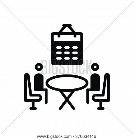 Black Solid Icon For Planning Organizing Convening Arrangement