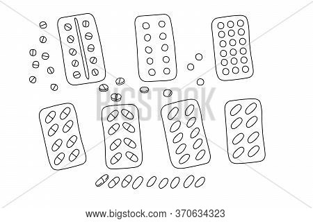 Simple Doodle Medicine Packing Of Pills, Tablets, Capsules Isolated On White Background. Vector Eps1