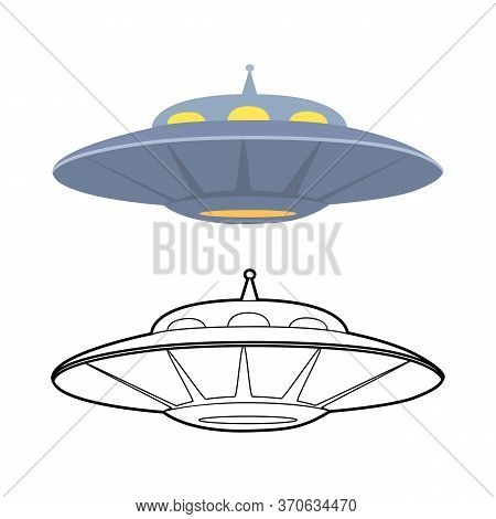 Set Of Outline And Colorful Flat Ufo. Various Flying Saucer. Unknown Flying Object. Guest From Space