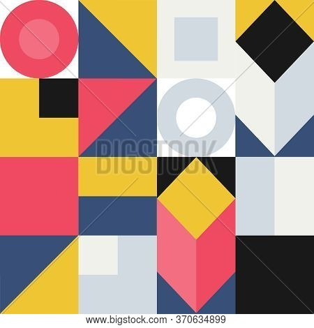 Seamless Pattern With Abstract Colored Geometric Elements. Abstract Seamless Banner For Cover Design