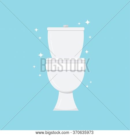 White Toilet Bowl Isolated On Blue Background. Clean And Fresh Ceramic Bathroom Toilet With Shine Sp
