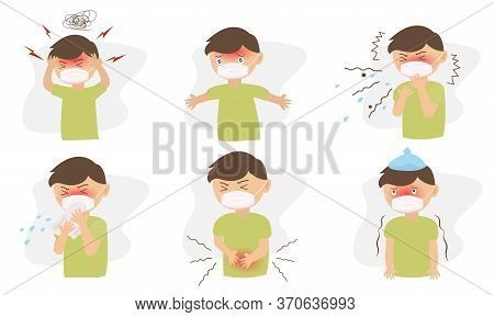 The Male Character Sets Have Different Illnesses, Ailments. With Headache, Stomach Ache, Coughing, S